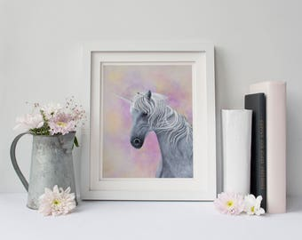 Unicorn art print  - Unicorn wall art - Unicorn gift - Unicorn room decor - Princess Wall Art - Pink Nursery Art - Unicorn lover - Unicorn