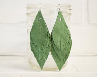 "4 1/2"", recycled, leather feather earrings, leaf earrings, green earrings, dangle earrings, feather earrings, tassel earrings, stacylynnc"