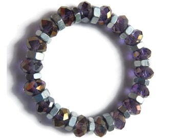 Galaxy - Purple/Silver Bracelet - Faceted Glass Crystal Stretch Stacking Bracelet - Lilac/Gold - Mishimon Designs