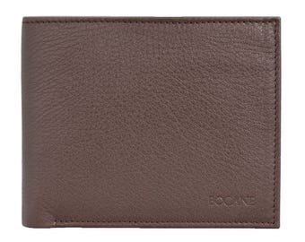 Slim Leather Wallet, Bifold, Pebbled Brown Leather