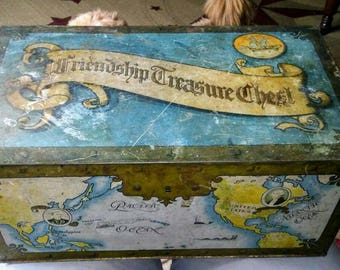 Sale-Vintage Friendship Treasure Chest Tin Box