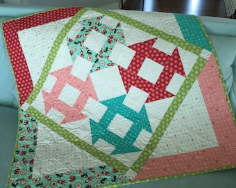Baby quilt! Little Red Riding Hood Pink Red Teal baby quilt  modern baby quilt with red riding hood motif  soft