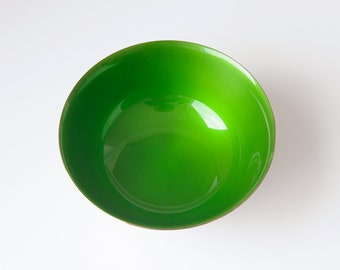 Reed And Barton Paul Revere Bowl // Silver Plate and Bright Green Enamel // Reed and Barton 1120