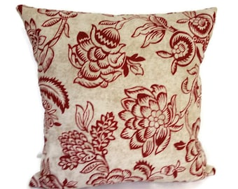 pillow cover,  Decorative throw  pillow, Red pillow cover,Red pillow,Red and beige pillow cover, pillow,