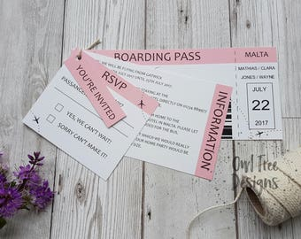 Boarding Pass Ticket Style Wedding Invitation SAMPLE, Destination Wedding set, Beach Wedding, Abroad Wedding stationery, Passport invite