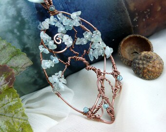 Tree of Life ~ Wire Wrapped Tree of Life Pendant ~ Aquamarine Tree of Life ~ Bonsai Jewelry ~ Bonsai Tree ~ Wire Wrapped Tree ~ Wire Tree