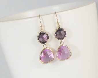 Purple Earrings, Lavender Dangle Lilac Drop Earrings, Bridesmaid Jewelry, Wedding Earrings, Gift For Her Bridal Jewelry