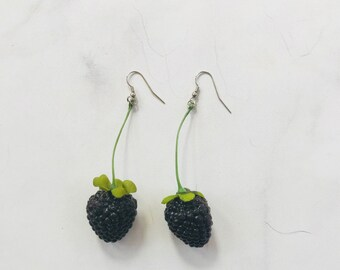 Single Blackberry Earrings on Green Stem // Adorable Quirky Gift for Her // Birthday Holiday Party // Statement Piece // Fashion
