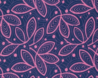 Amy Butler Fabric - 1 Metre Leaf Lines in Rose / Violette ships from Australia