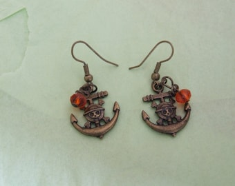 Bronze tone Anchor and crystal Earrings