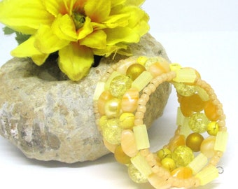 Yellow Coil Bracelet, Yellow Memory Wire Bracelet, Multistrand Beaded Bracelet, Lemon Yellow Wrap Around Bracelet, One Size Fits Most