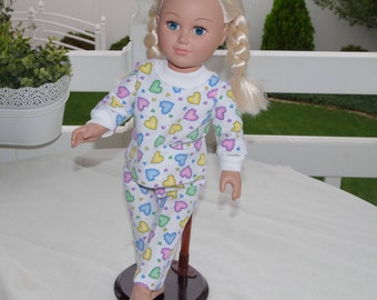 Heart attack PJs - 18 inch doll clothes american girl - top and bottom sleepwear pajama set