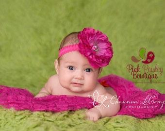 Baby headbands - Baby girl headband - Infant Headband - Baby Hair Accessories - Pink baby hairbows - Newborn Headband