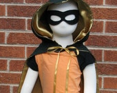 Hooded Cape, Gold Satin a...