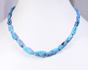 Genuine Turquoise Necklace Sleeping Beauty Sterling Silver Shocker Necklace American Turquoise