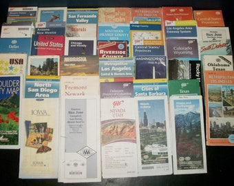 Lot of 40 Vintage Road Maps