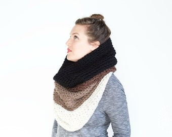 The Ombré Cowl | COCOA | Chunky Knit Ombré Oversized Huge Textured Winter Cowl Scarf