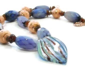 Sale| Super Chunky Chalcedony Necklace, Harlequin Necklace, Gemstone Necklace, Copper, Purple, Statement Jewelry, Boho Bohemian, Rocker, Sto
