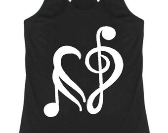 Classic Musical Note Love Heart Racerback Tank Top Graphic Shirt