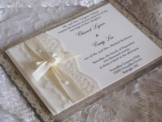Lace Wedding Invitation Lace Wedding Invite Wedding