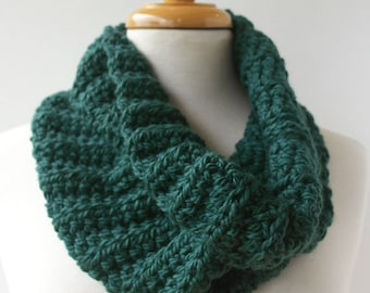 Green Handknit Cowl Scarf - Chunky Knit - Green Winter Scarf - Green Crochet Cowl - Knitted Acrylic Scarf