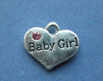 5 Baby Girl Charms - Baby Girl Pendants - Baby Charm - Baby Reveal - Baby Shower - Antique Silver - 17mm x 15mm - (U7-10961)