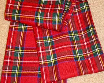 "Kilt Sashes on Sale~Red Royal Stewart Plaid Sashes~Dress Stewart Black Stewart Tartan Plaid Sashes~57"" to 72"" Long Plaid Sash@sohoskirts"