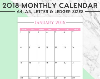 NEW! 2018 MONTHLY CALENDAR | Pastel, 2018 Planner, 2018 Calendar, Planning, 2018 Wall Calendar, A4, A3, Letter, Ledger, Instant Download