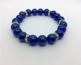 Blue Glass Beaded Bracelet with Silver Plated Rhondelle Spacer Beads, Jewelry, Gift, Stretchable, Mother's Day, 8inches