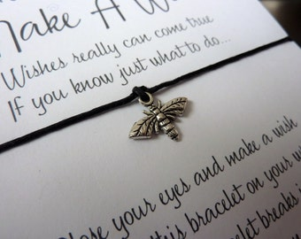 Wish Bracelet - Honey Bee / Bee Charm / Nature / Beekeeper Gift / Save The Bees / Bee Bracelet / Choice of Colours / Wish Knots