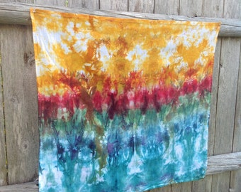 """Hand Dyed, 100% Cotton, Flour Sack Towel, Eco-Friendly, Kitchen Towel, Dish Towel, 27"""" x 30"""", Multi-colored, """"By the River"""""""