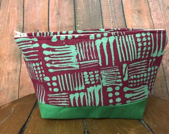 Green/ Burgandy make up bags