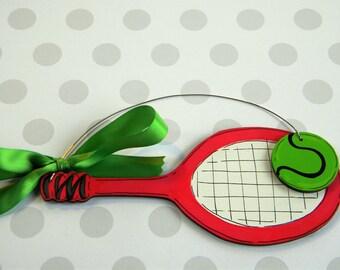 Tennis Ornament - Tennis Racquet and ball Ornament - Tennis Player Ornament - Tennis Coach Ornament - Personalized Ornament - tennis lover