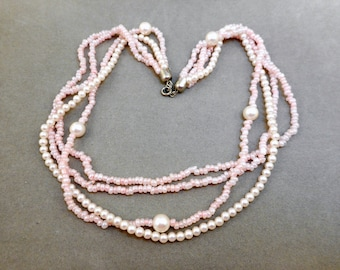 Vintage Blush Pink Pearl Necklace