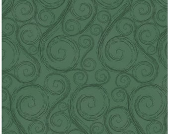 Holiday Wishes Green Swirls Christmas Fabric by Jan Shade Beach New 2018 Christmas Sold By the Half Yard in One Continuous Cut