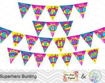 Printable Superhero Banner, Superhero Birthday Party Banner, Instant Download Superhero Bunting Superhero Birthday Party Banner Bunting 0249