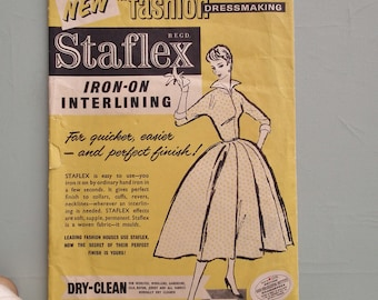 Vintage Sewing Supplies 1950s Staflex Dressmaking Interlining dress facing 50s original packaging / graphics needlework collectibles notions