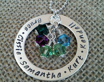 Hand Stamped Mom Necklace, Grandmother Necklace, Family Name Necklace, Kids Names Necklacce, Stamped Evermore