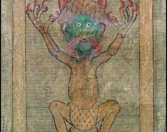 Codex Gigas Devil ~ Biblical ~ Mystical ~ Haunting ~ Foreboding ~ Allegorical - Devil ~ Wall Art