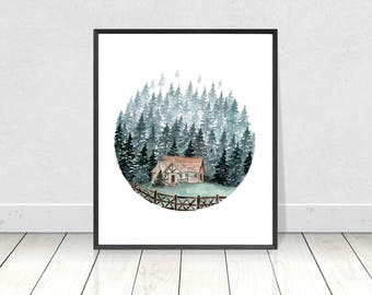 Cabin in the Forest Watercolor Painting Print- Giclee Art Print-Nature Landscape Fine Art Print- Wall Art- Room Decor- 8x10 to 18X24 Prints