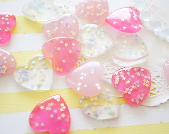 9 pcs Clear Star Holo Sprinkles Heart Cabochon (27mm) IK124