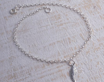Angel wing ankle bracelet sterling silver 925 angel wing charm chain ankle bracelet anklet strength