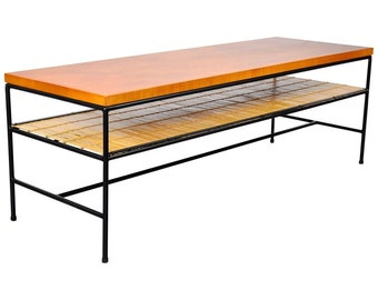 Paul McCobb Winchendon Modern Iron and Maple Coffee Table Mid-Century