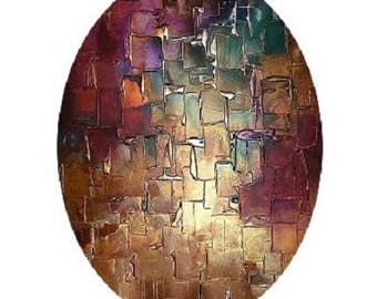 abstract cabochon 30x40mm, bronze