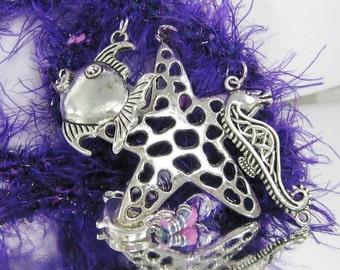 Purple Kumihimo Sea Treasures Necklace
