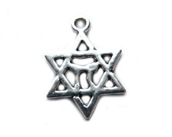 10 Silver L'Chaim Star of David Charms