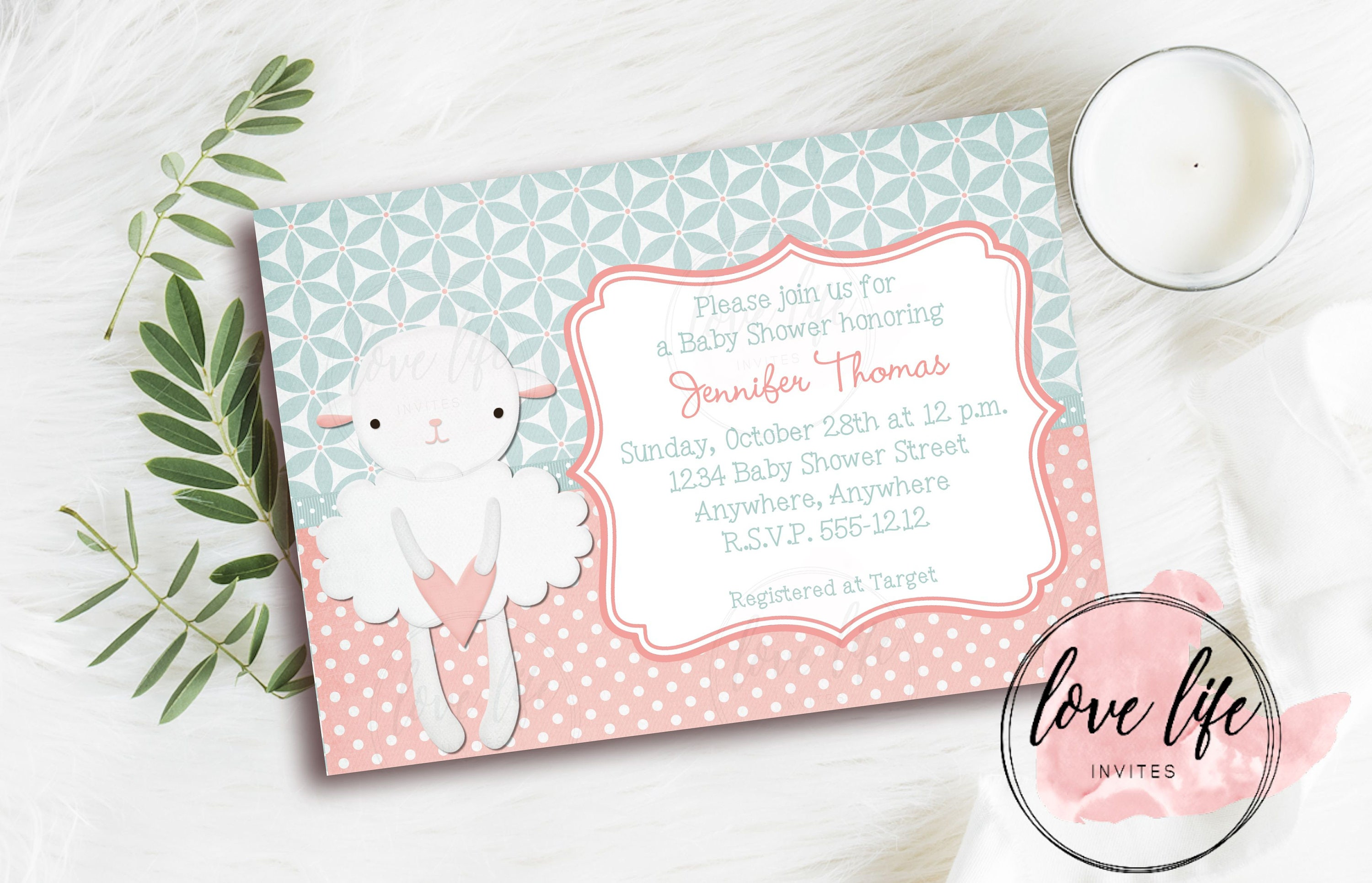 Little Lamb Baby Shower Invitation Pink Baby Shower