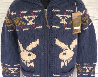 HeFNER! Ltd Edition GRANTED PLAYBOY BUNNY Cowichan Hand Knit Wool Sweater Xxl