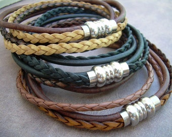 Mens Leather Bracelet, Stainless Steel Magnetic Clasp, Double Wrap Bracelet, Fathers Day Gift, Mens Bracelet, Mens Jewelry