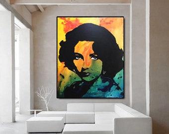 ELIZABETH TAYLOR Art Print, Liz Taylor Canvas, Elizabeth Taylor Poster, Elizabeth Taylor Wall Art Decor by Kathleen Artist